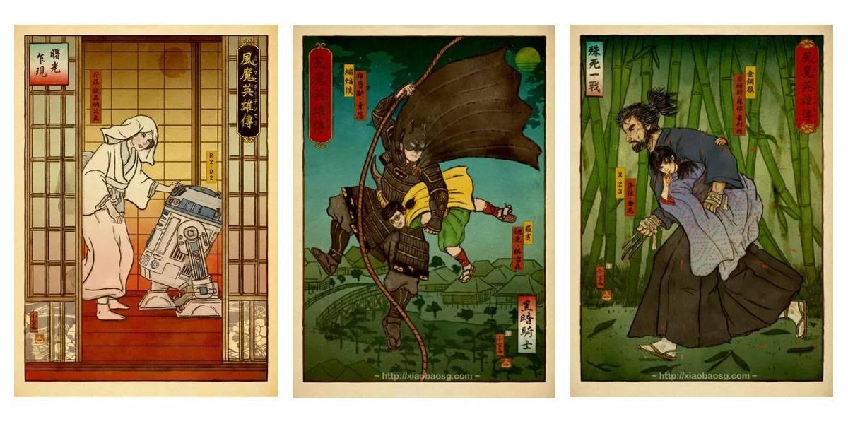 Artista convierte la cultura pop moderna en ilustraciones del Japón Feudal