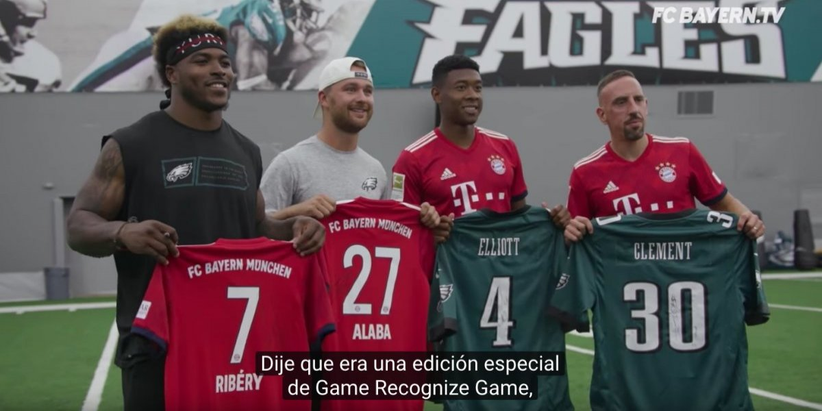 Jugadores de Águilas de Filadelfia y Bayern Munich se baten en duelo de habilidades