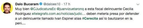 tuit de Dalo Bucaram sobre Iván Espinel