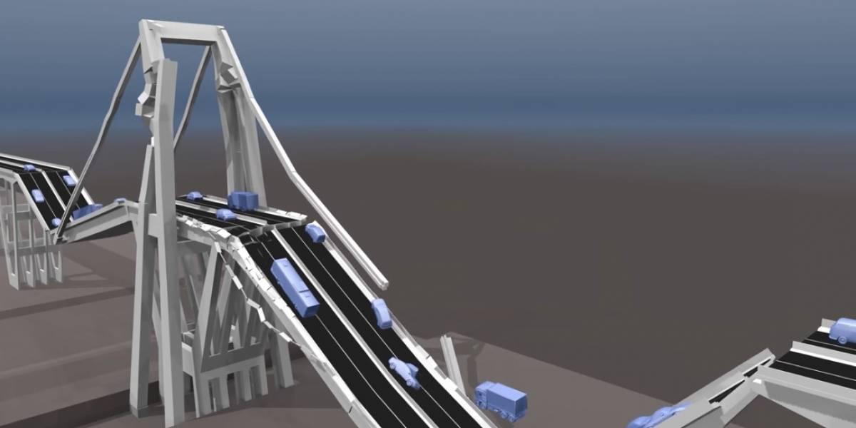 La tragedia del desplome del puente de Génova reconstruida en 3D