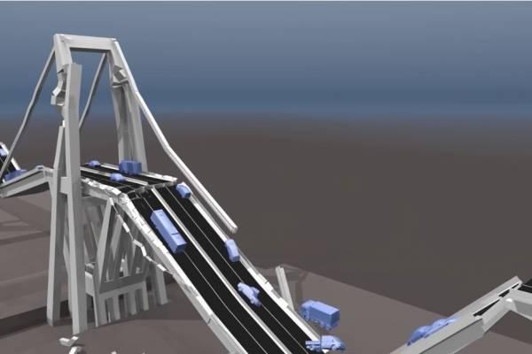 Con las imágenes de los destrozos y otros vídeos de la tragedia en la que murieron 43 personas una empresa alemana ha realizado esta reconstrucción en 3D, que refleja cómo cedió la estructura.