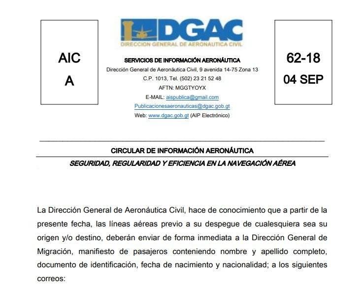DGAC por información de pasajeros