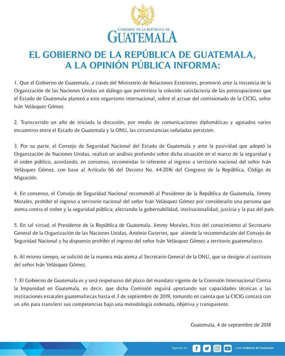 Gobierno prohíbe ingreso al país a Iván Velásquez