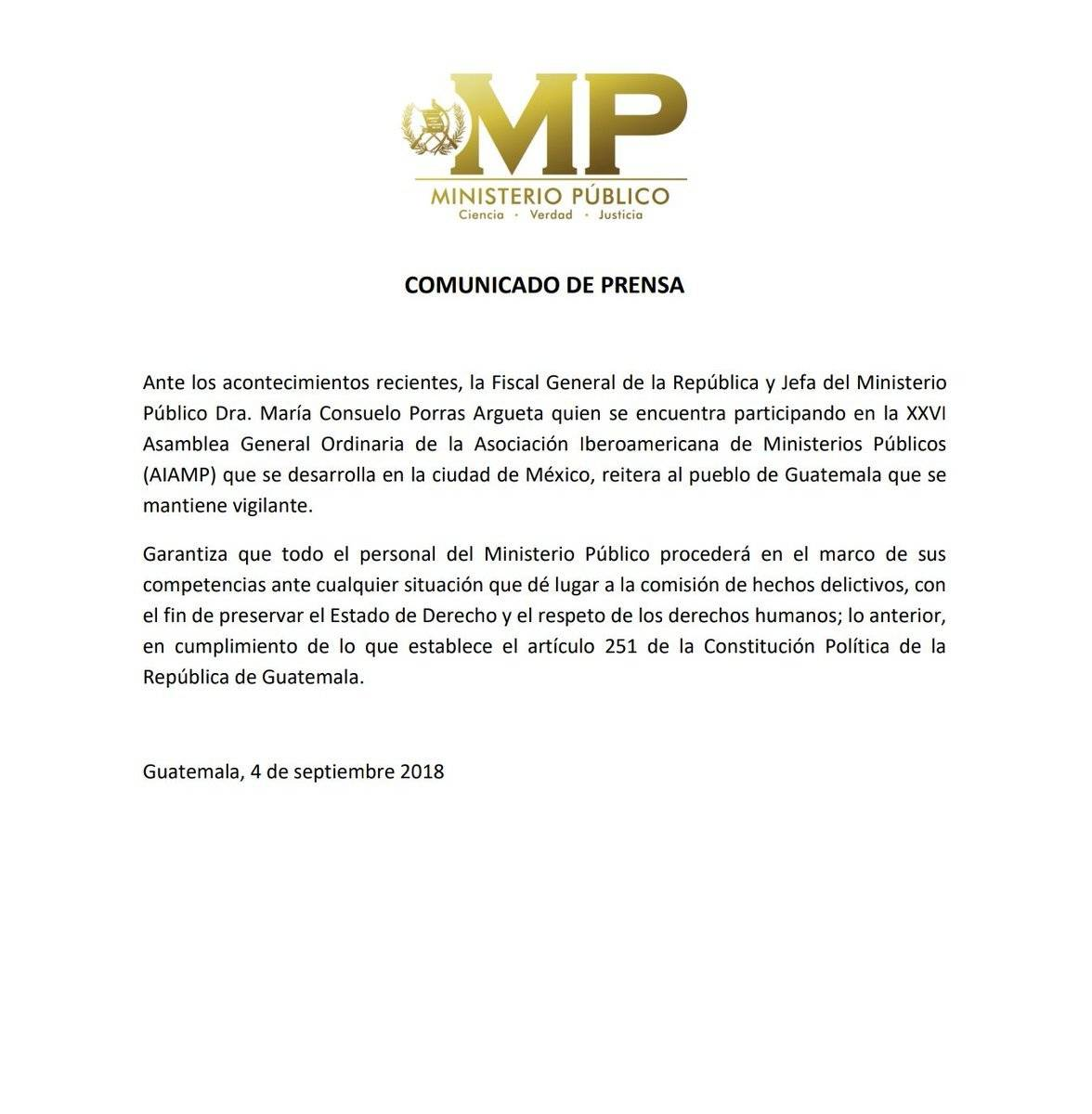 MP comunicado Iván Velásquez