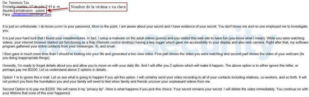 ¿Te han mandado un mail con tu contraseña como asunto y una extorsión sexual? No eres el único