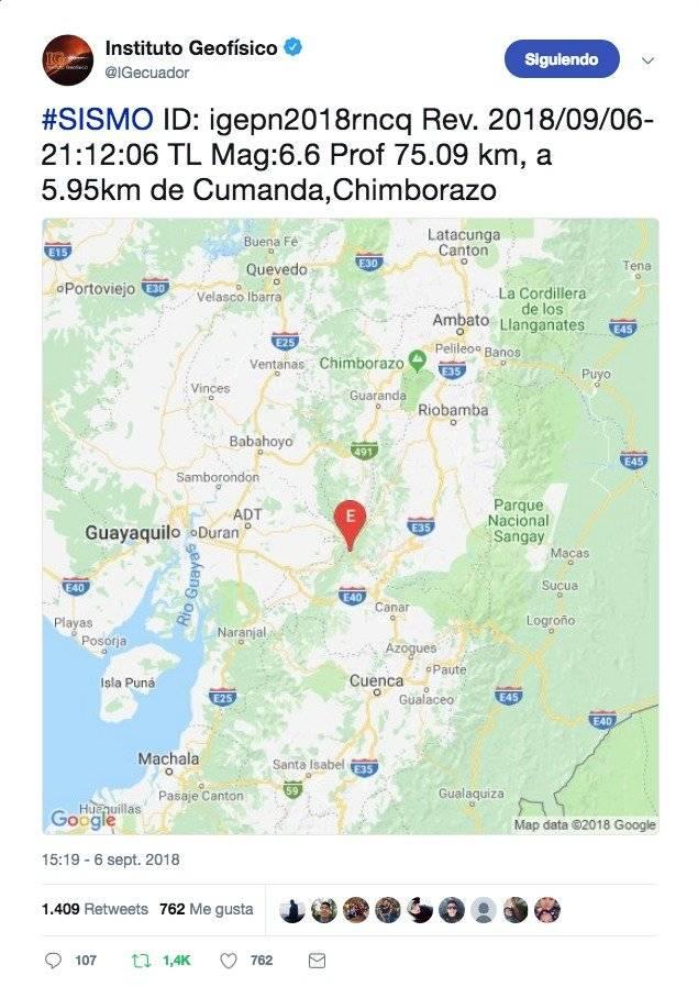 Sismo de 6,6 en Cumandá, Chimborazo