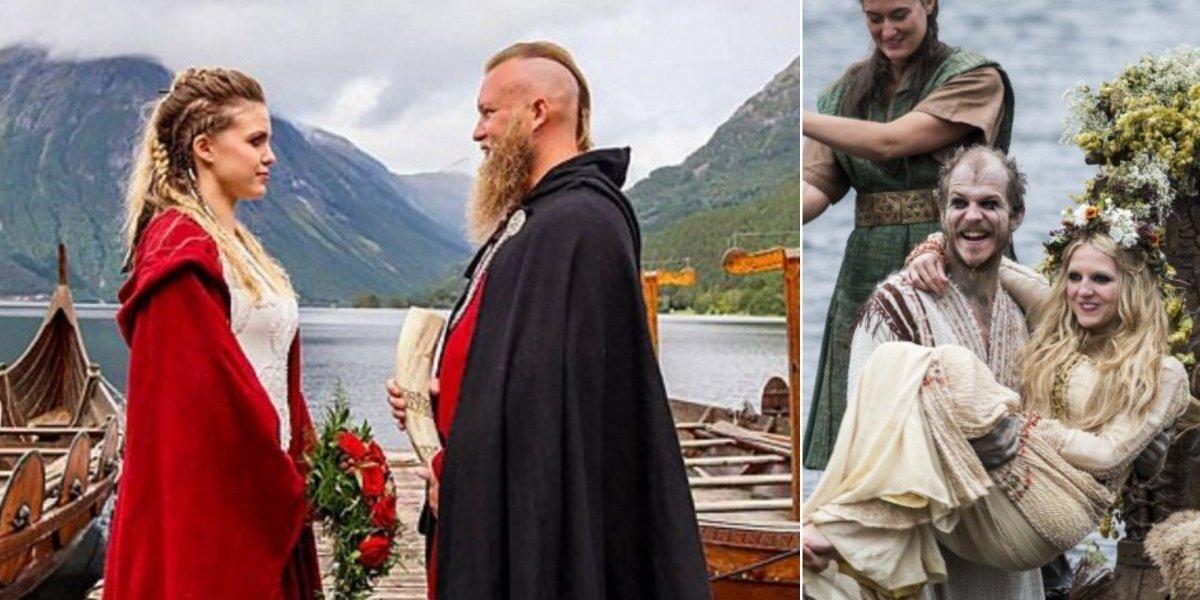 Casamento Viking acontece nas margens de um lago na Noruega com barcos, sacerdote pagão e oferendas de sangue