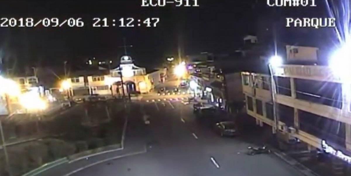 De acuerdo con las imágenes del ECU 911, que corresponden a un parque en Cumandá, el sismo se produjo a las 21:12 ECU 911