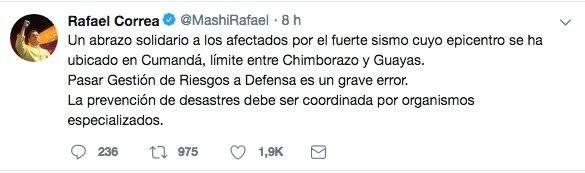 Rafael Correa y su mensaje en redes sociales tras el sismo en Cumandá, Chimborazo