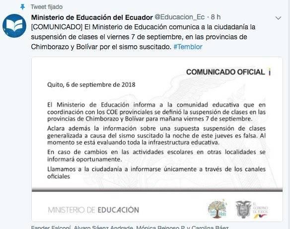 Ministerio de Educación: Se suspenden clases en Chimborazo y Bolívar tras sismo de 6.5