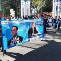 mantas con mensajes contra Jimmy Morales en Quetzaltenango