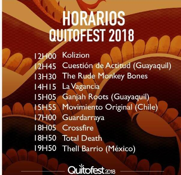 Horarios para el Quitofest 2018