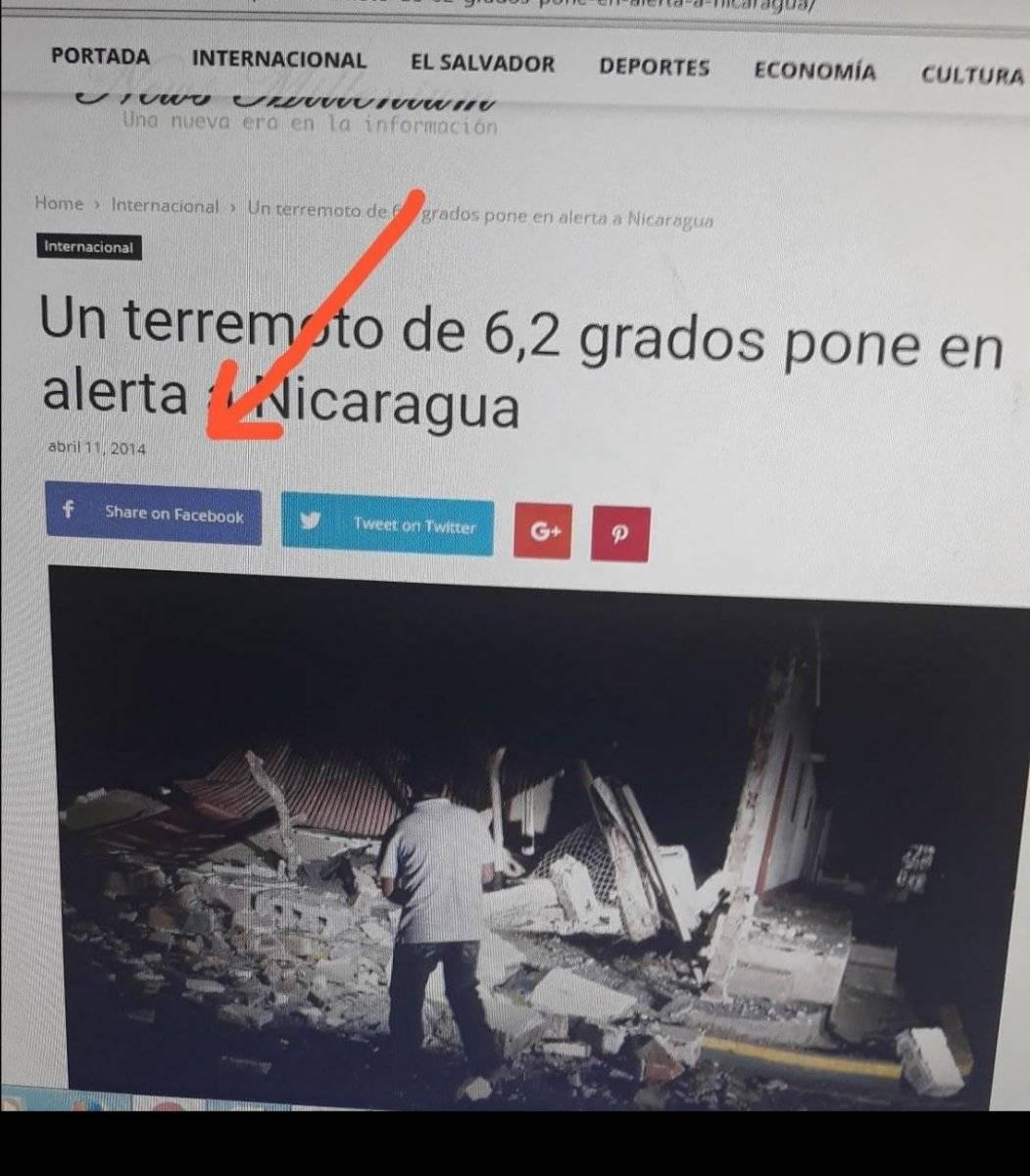 Nota de sismo en Nicaragua