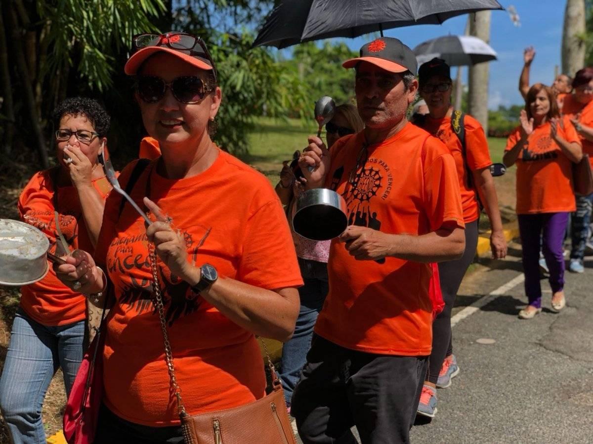 Varios cientos de miembros de la Heend marcharon hoy, 7 de septiembre, frente a la Administración Central de la UPR en Río Piedras, en contra de las medidas de austeridad que propone la Junta de Control Fiscal para la institución y la falta de comunicación y diálogo con la Junta de Gobierno de la UPR. / Foto: David Cordero Mercado