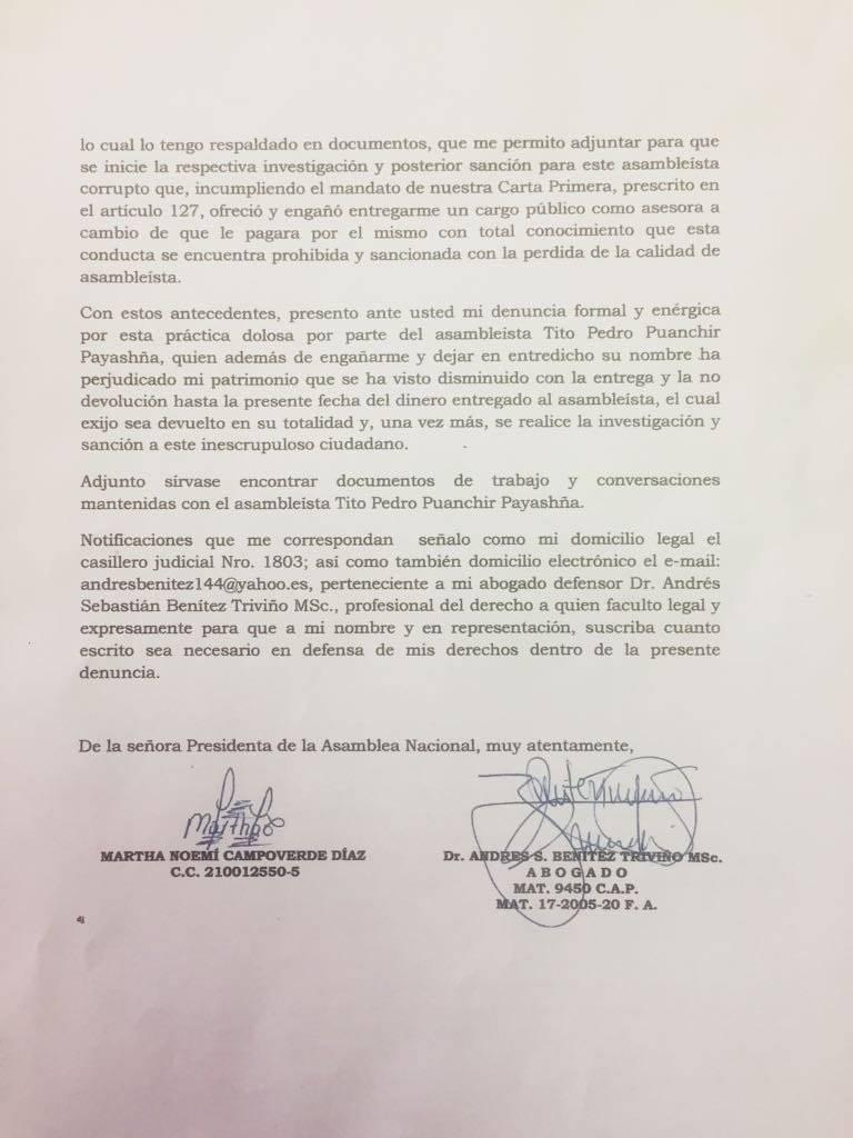 Exfuncionaria denuncia entrega de 9 mil dólares a asambleísta de Pachakutik