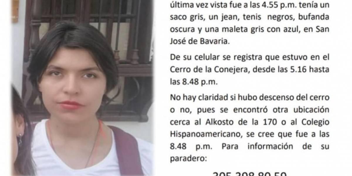Apareció muerta la estudiante desaparecida en el norte de Bogotá