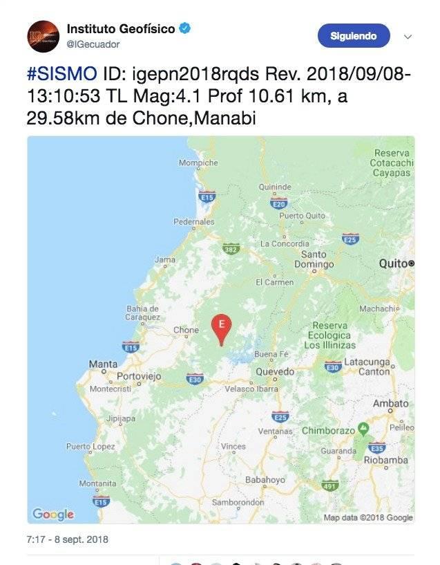 El sismo ocurrió en Huaquillas, El Oro aproximadamente a las 15:03 horas. Tuvo una profundidad de 2.73 kilómetros.