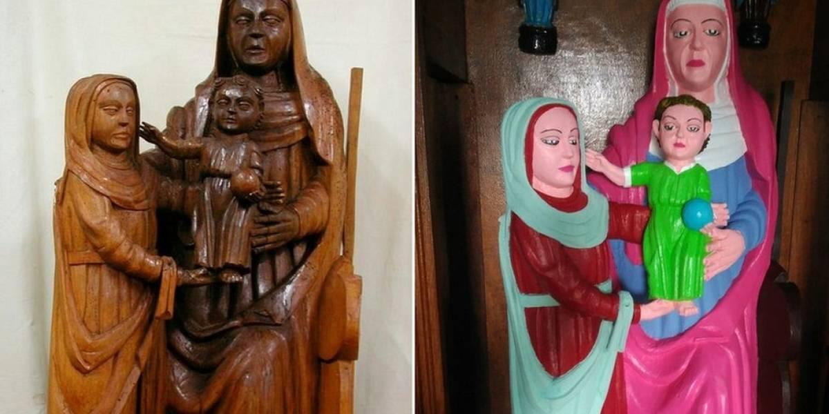 Moradora de povoado espanhol restaura esculturas centenárias com cores berrantes e causa polêmica