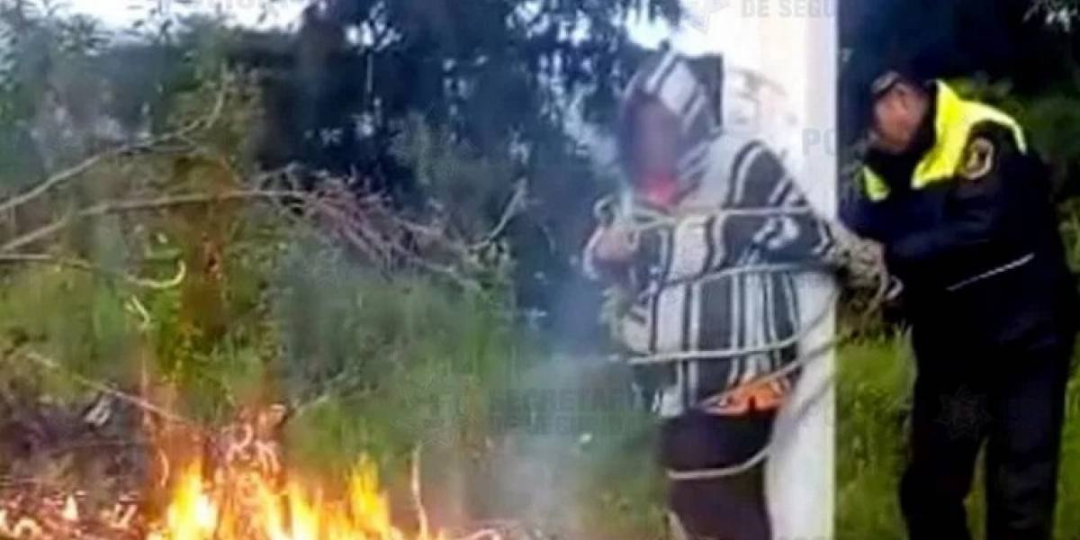 Rescatan a mujer de ser linchada y quemada viva en el Edomex