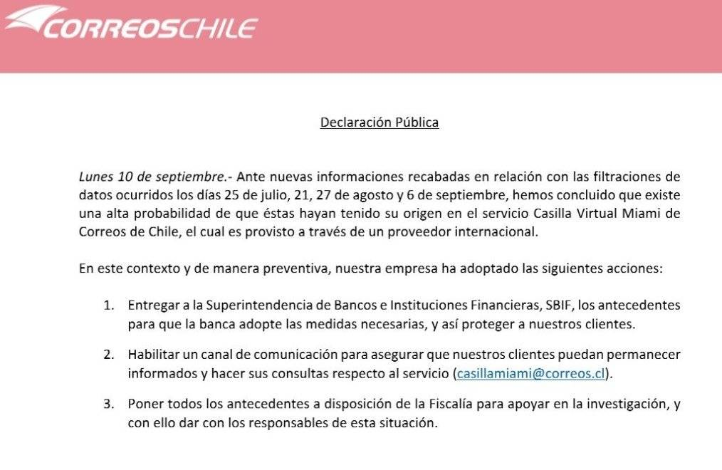 Correos de Chile admite estar involucrado en la filtración de datos bancarios