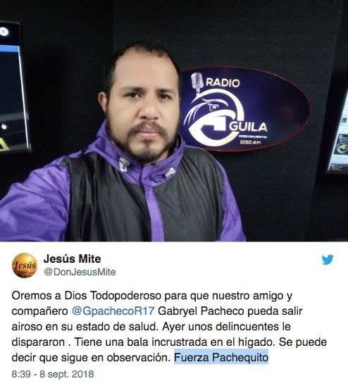 El periodista ecuatoriano, Gabriel Pacheco, recibió un disparo por delincuentes