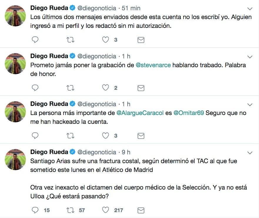 Cuenta de Twitter de Diego Rueda fue hackeada