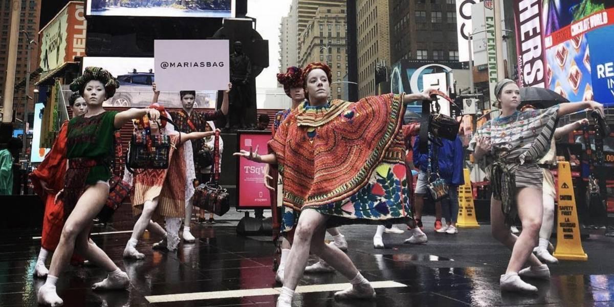 Textiles guatemaltecos son exhibidos en pleno Times Square en Nueva York