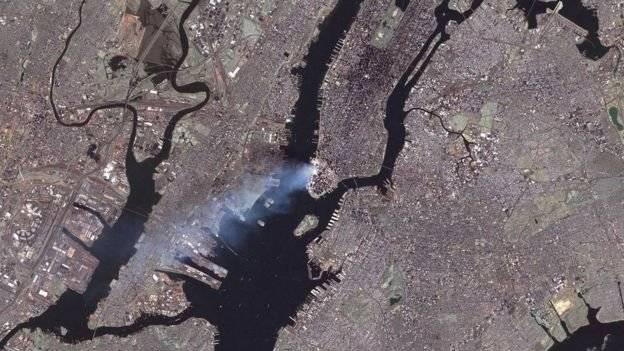 Así se vio desde el espacio el ataque de las Torres Gemelas