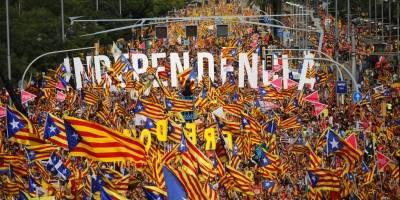 Marcha de separatistas en Cataluña