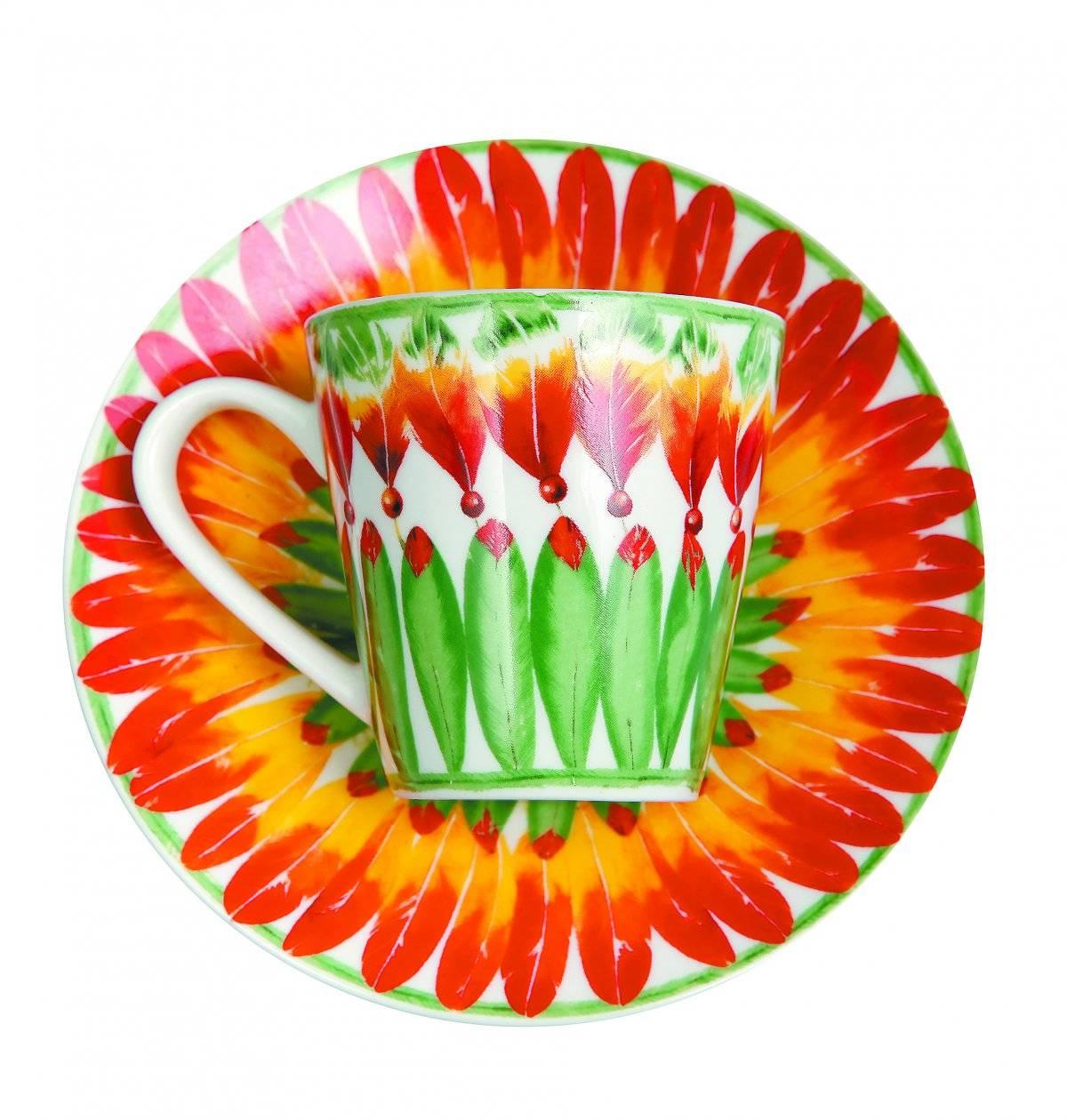 Conjunto prato e xícara tropicana www.lelis.com.br Reprodução