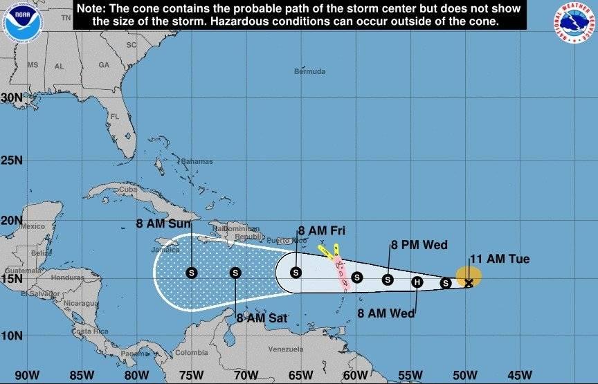 Trayectoria del ciclón Isaac
