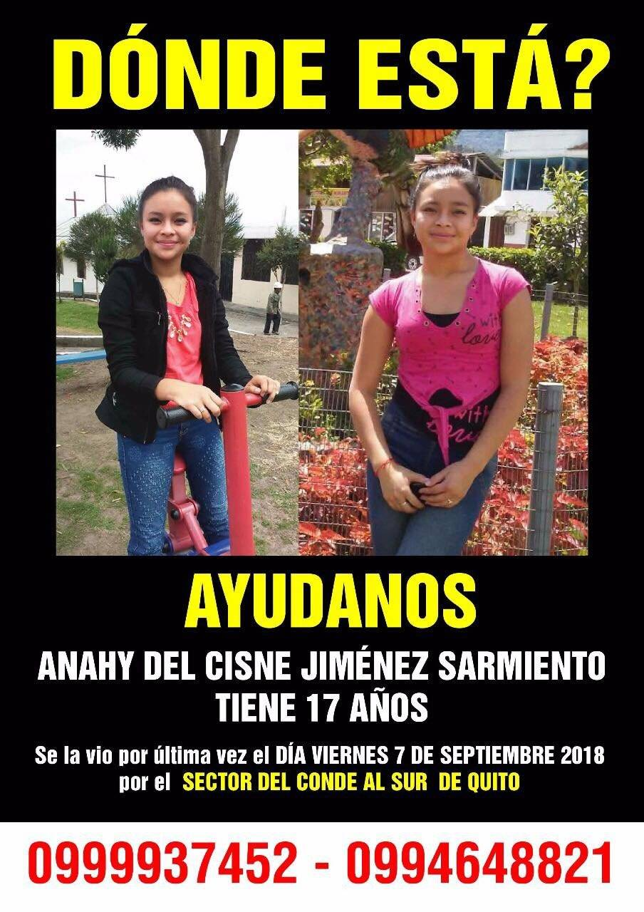 Familiares buscan a Anahy del Cisne Jiménez Sarmiento