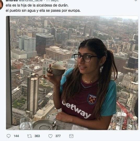 Confunden a Mia Khalifa con hija de alcaldesa de Durán