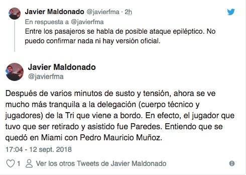 Reporte de Juan Carlos Paredes Twitter