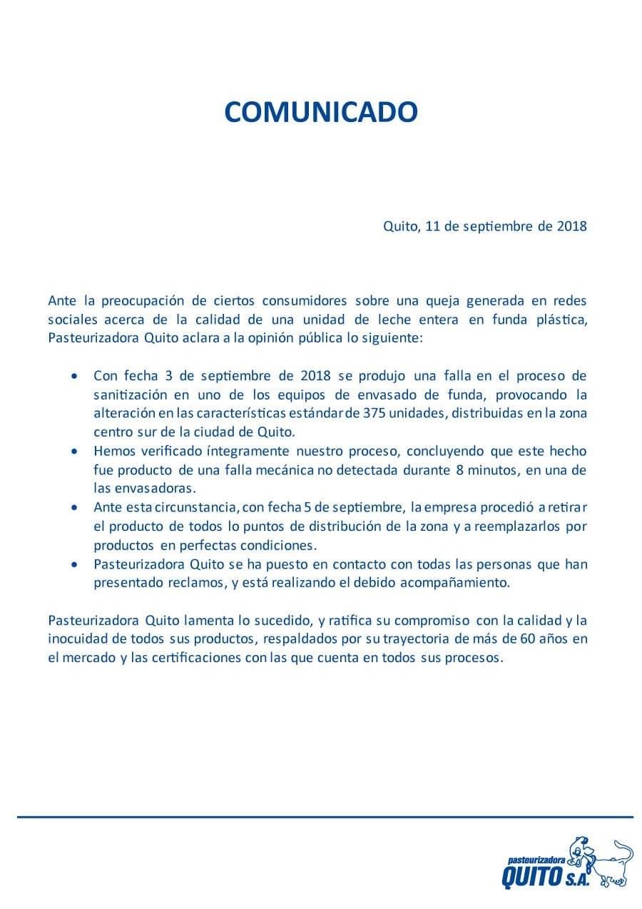 Comunicado de pasteurizadora Quito