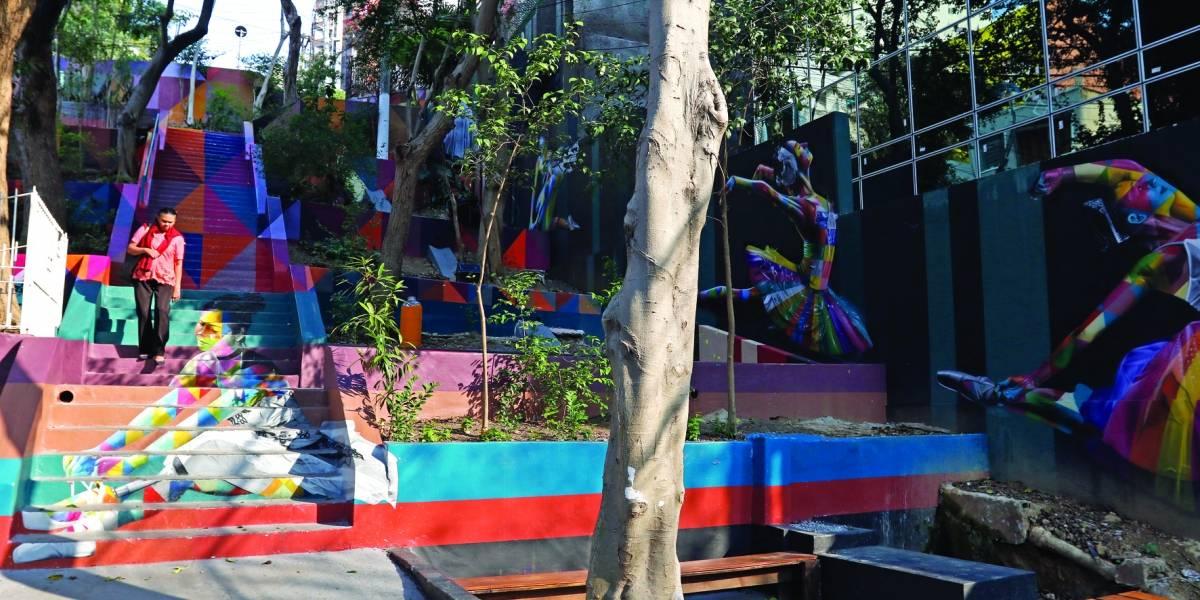 Bailarinas inspiram 'nova' escadaria grafitada por Eduardo Kobra em Pinheiros