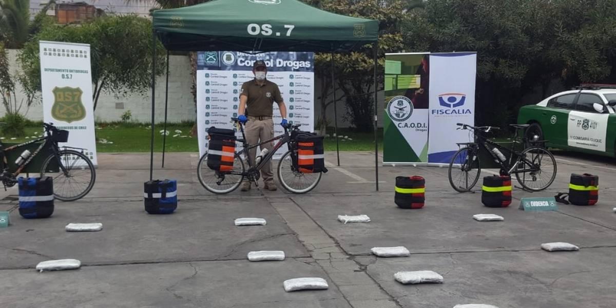 Delincuentes llevaban 18 kilos de marihuana en bicicleta hasta Chile