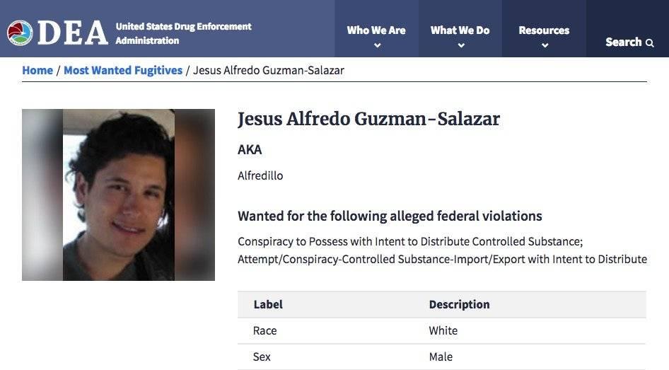 Ficha de Jesús Alfredo Guzmán Salazar en el sitio web de la DEA
