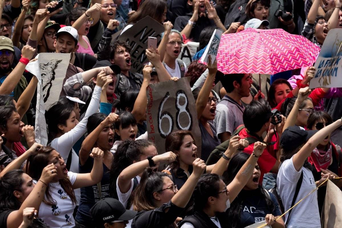 Manifestación de estudiantes en la UNAM Foto: AP