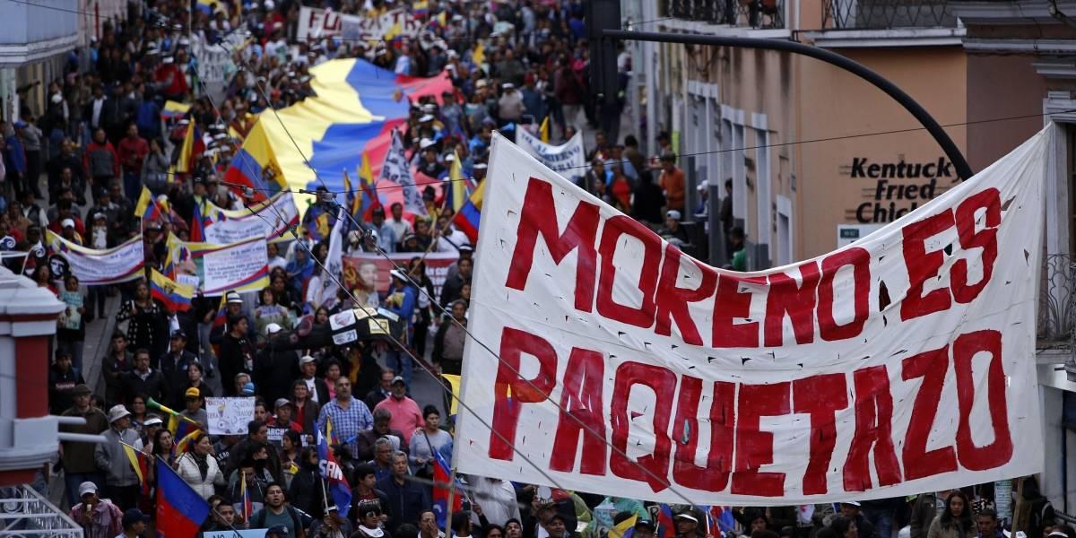 ¡Toma rutas alternas! Vías cerradas por marcha en contra de las medidas de Lenín Moreno