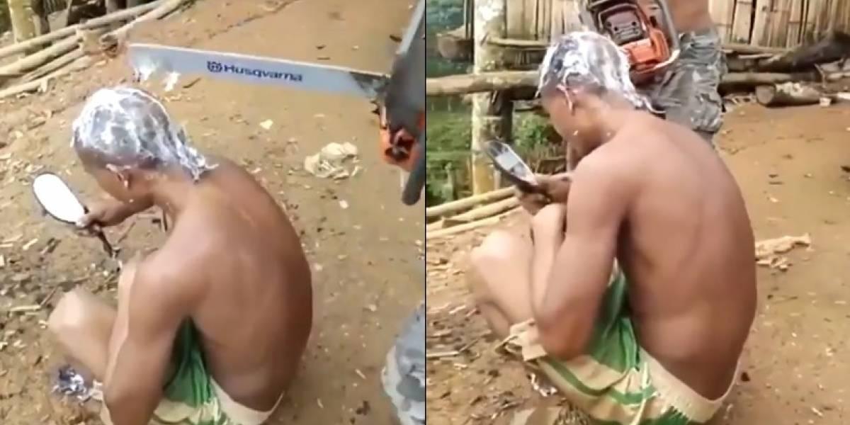 ¡Qué arriesgado!, hombre se dejó cortar el cabello con una motosierra