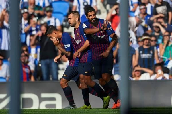 Luis Suárez anotó el primer gol de Barcelona ante la Real Sociedad / Foto: Getty Images