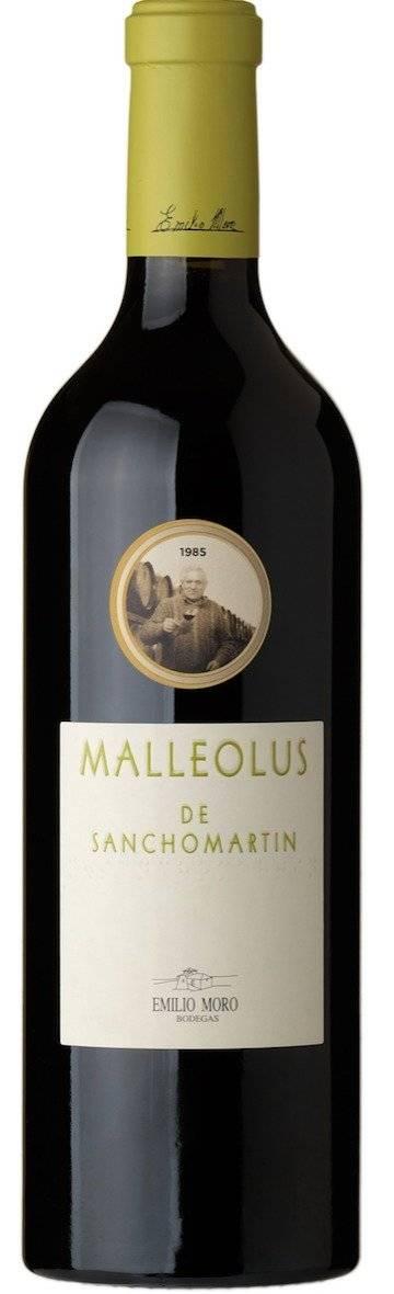Vino Malleolus de Sanchomartín. Uno de los vinos Top de Bodegas Emilio Moro, procede del Pago de Sanchomartín, viñedo con más de 65 años de antigüedad. Cortesía