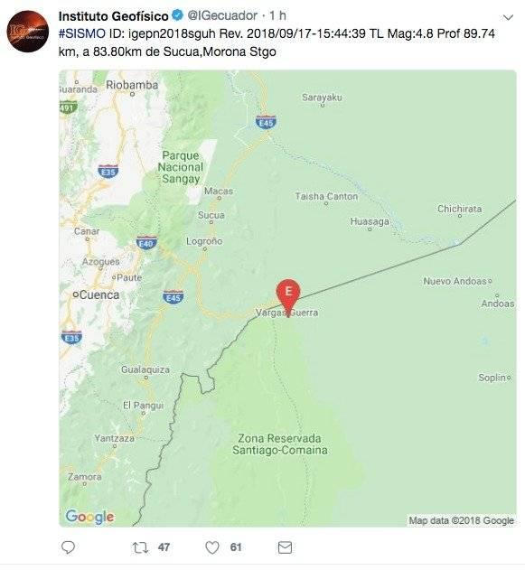Sismo de 4.8 en la frontera con Perú no se sintió en Ecuador