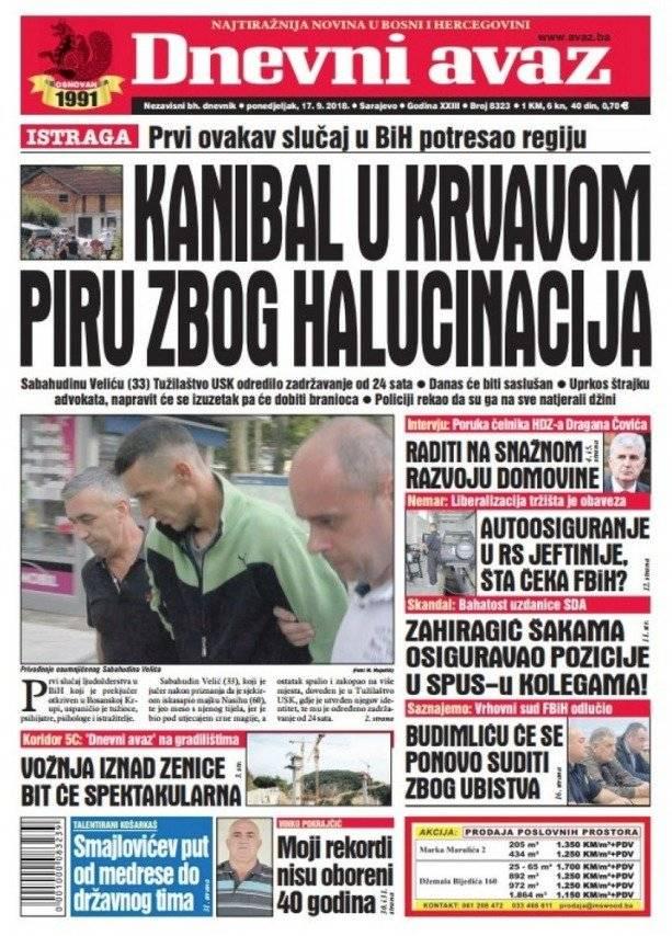 Tapa del diario bosnio Avaz