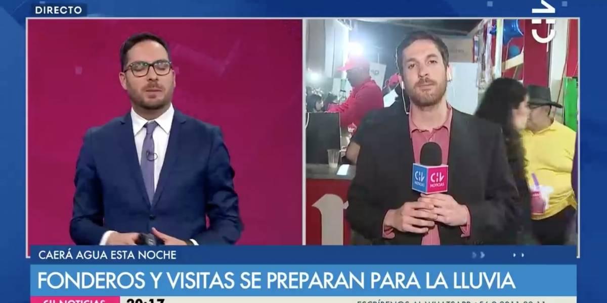 Le intentan quitar micrófono a periodista de CHV en pleno despacho en vivo desde las fondas