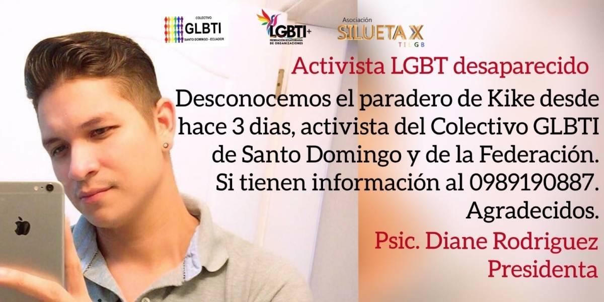 Aparece con vida joven activista de colectivo LGTBI desaparecido en Ecuador