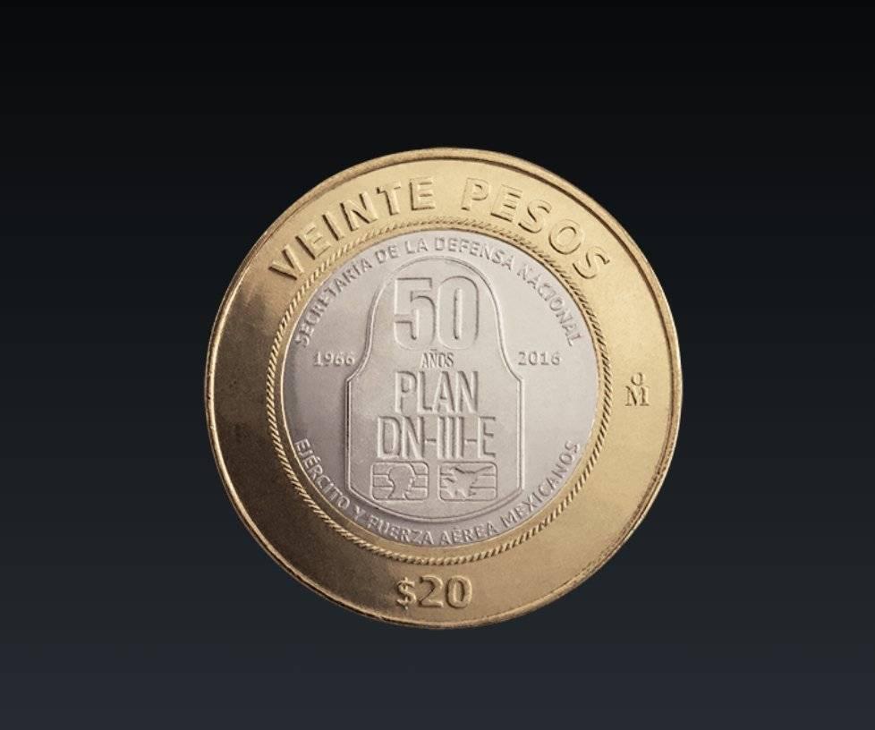 Moneda de 20 pesos, conmemorativa del Quincuagésimo Aniversario de la aplicación del Plan DN-III-E / banxico.org.mx