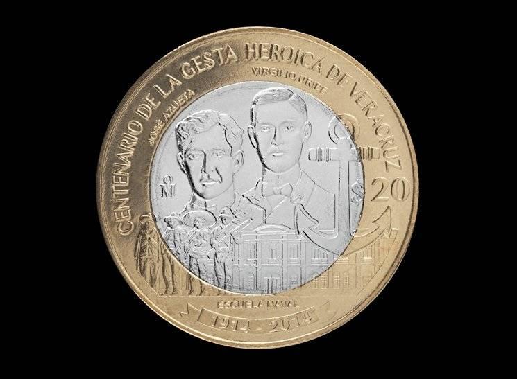 Moneda 20 pesos, conmemorativa del Centenario de la Gesta Heróica del Puerto de Veracruz / banxico.org.mx