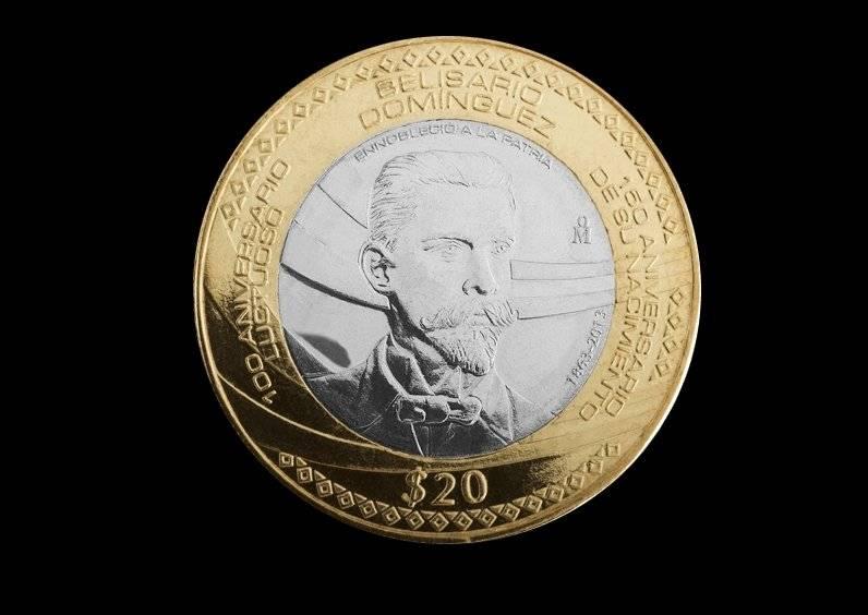 Moneda de 20 pesos, conmemorativa del 150 Aniversario del Natalicio y 100 Aniversario Luctuoso de Belisario Domínguez Palencia / banxico.org.mx